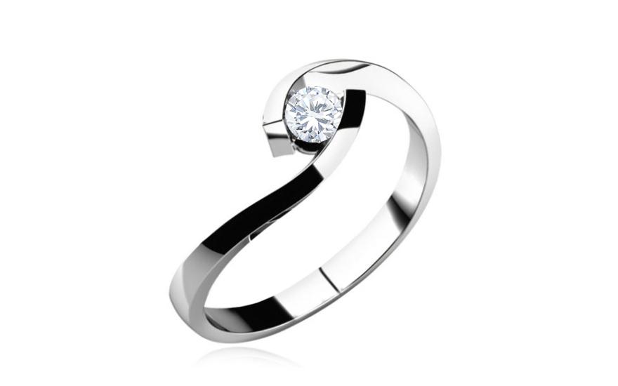 Zásnubní prsten s diamantem 0,090 ct Lines of love 1 LRBR035MK