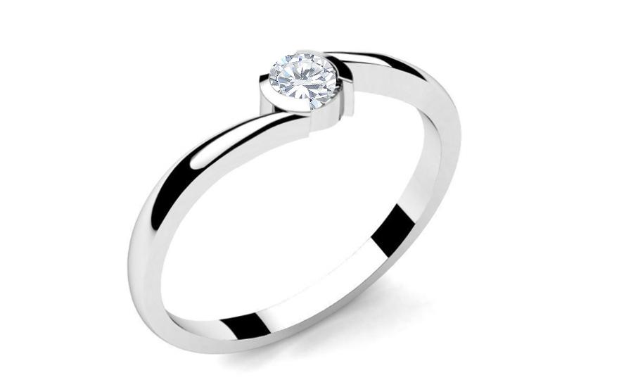 Zásnubní prsten s diamantem 0,090 ct Lines of love 8 LRBR033
