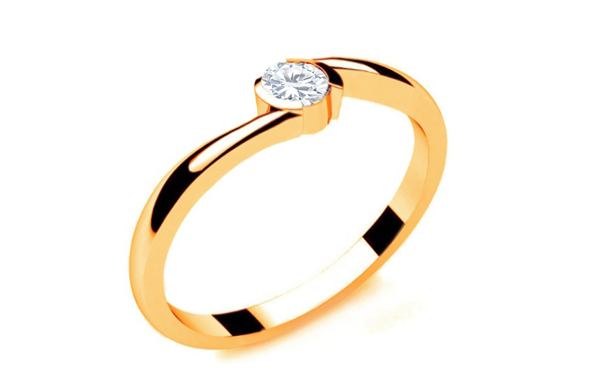 Zásnubní prsten s diamantem 0,090 ct Lines Of Love 8 Yellow LRBR033Y