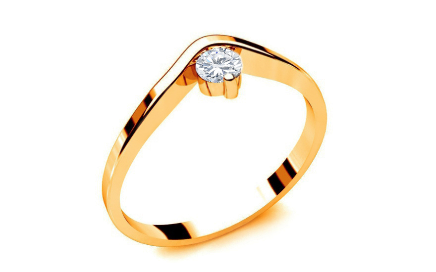 Zásnubní prsten s diamantem 0,090 ct Lines Of Love 9 Yellow LRBR040Y