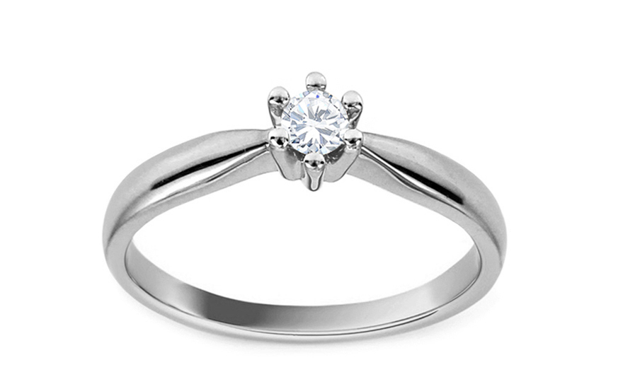 Zásnubní prsten s diamantem Christine white KU514A
