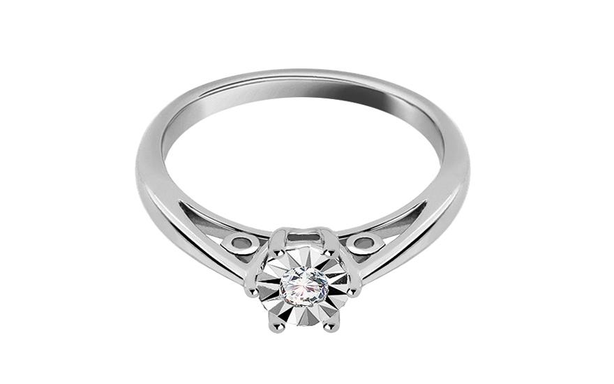 Zásnubní prsten s diamantem 0,090 ct Secret Illusion KU238