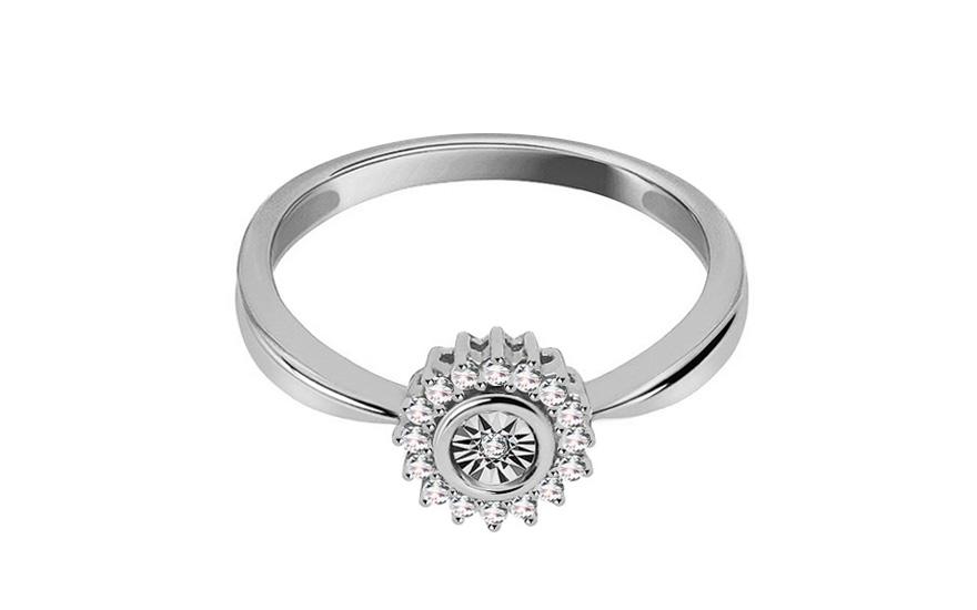 Zásnubní prsten s diamanty 0,070 ct Daria white KU295A