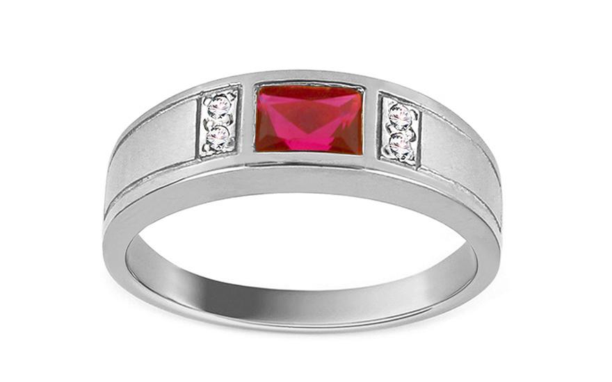 Zásnubní prsten s rubínem Isar white CSRI1072A