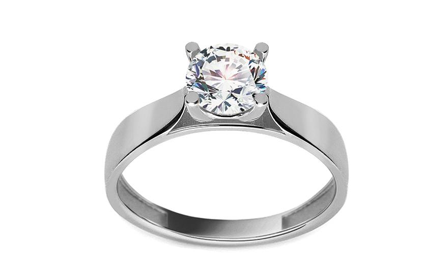Zásnubní prsten se zirkonem Roux z bílého zlata IZ11278A