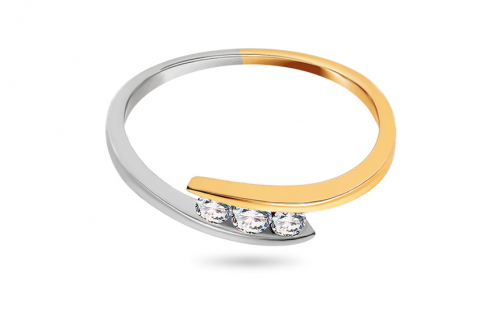 Zásnubní prsten s 0,110 ct diamanty Triple of love - CSBR09