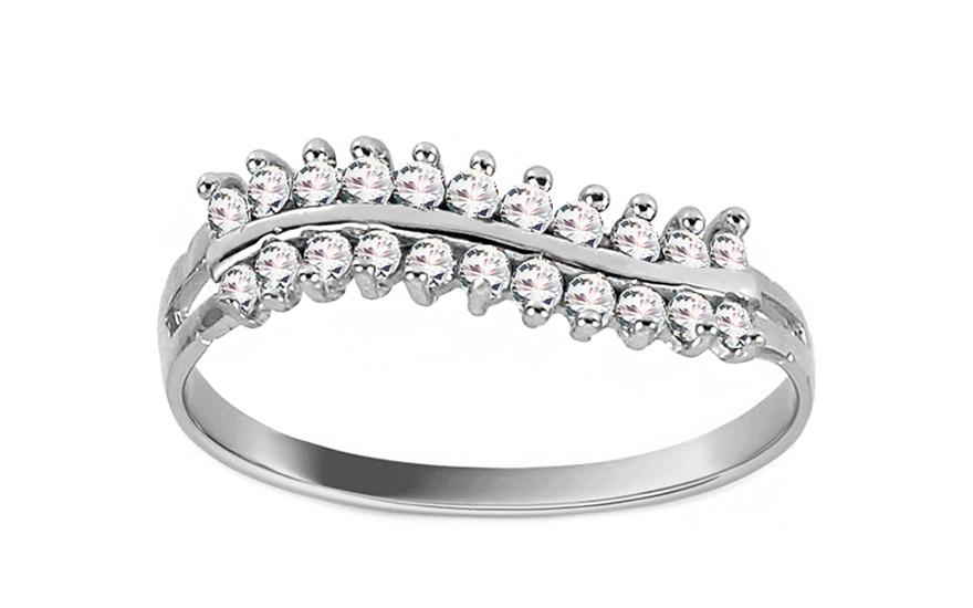 Zásnubní prsten z bílého zlata Crowd CSRI828A
