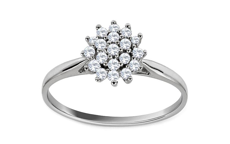 Zásnubní prsten z bílého zlata s brilianty Susan KU538A