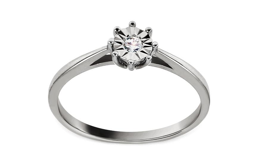 Zásnubní prsten z bílého zlata s diamantem 0,030 ct Adrie VKBR010A