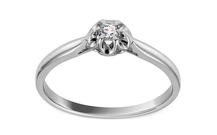 Zásnubní prsten z bílého zlata s diamantem 0,040 ct Laila KU689A