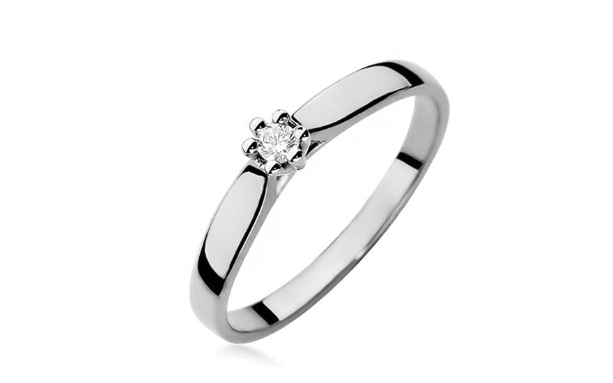 Zásnubní prsten z bílého zlata s diamantem 0,040 ct Reanna BSBR056A
