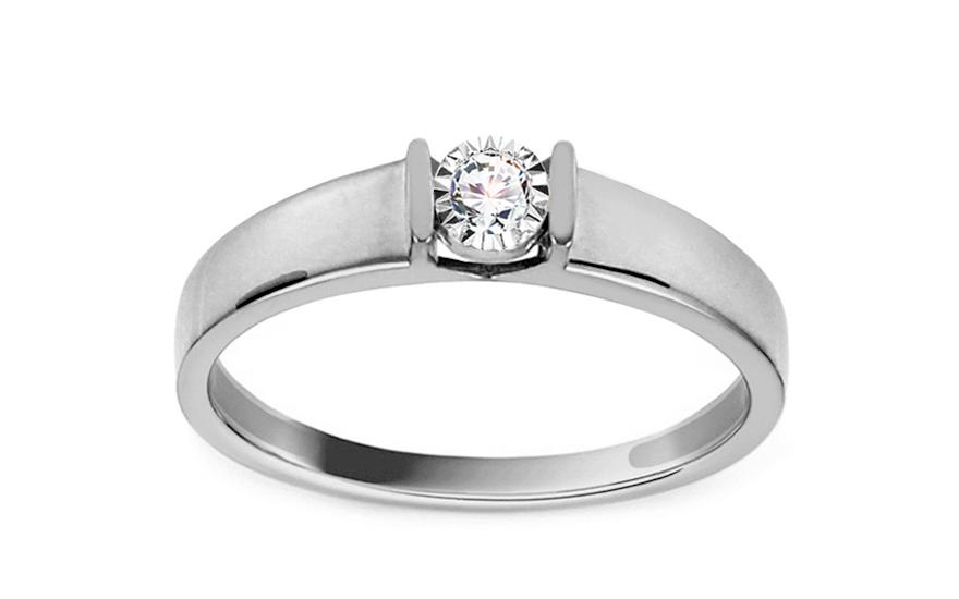 Zásnubní prsten z bílého zlata s diamantem 0,050 ct Betsey KU646A