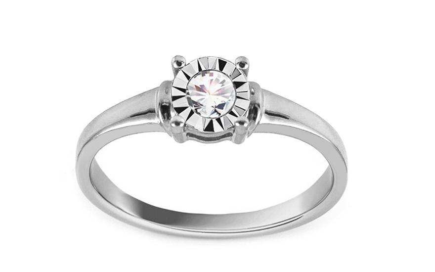 Zásnubní prsten z bílého zlata s diamantem 0,100 ct Darby VKBR009A