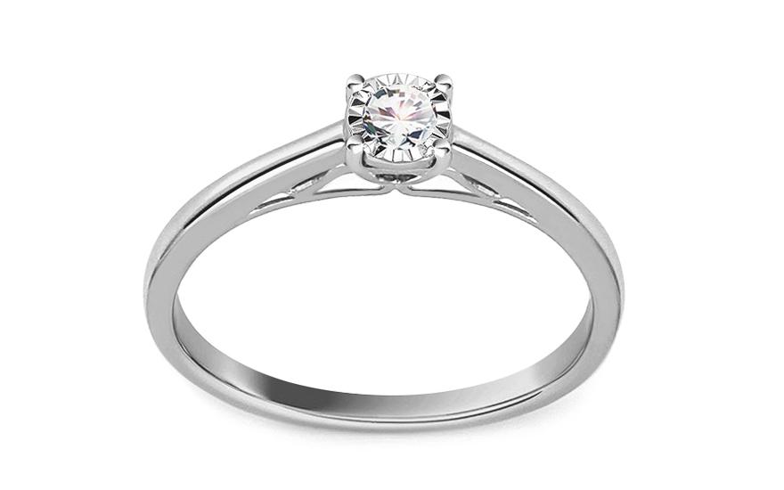 Zásnubní prsten z bílého zlata s diamantem 0,120 ct Annie KU707A