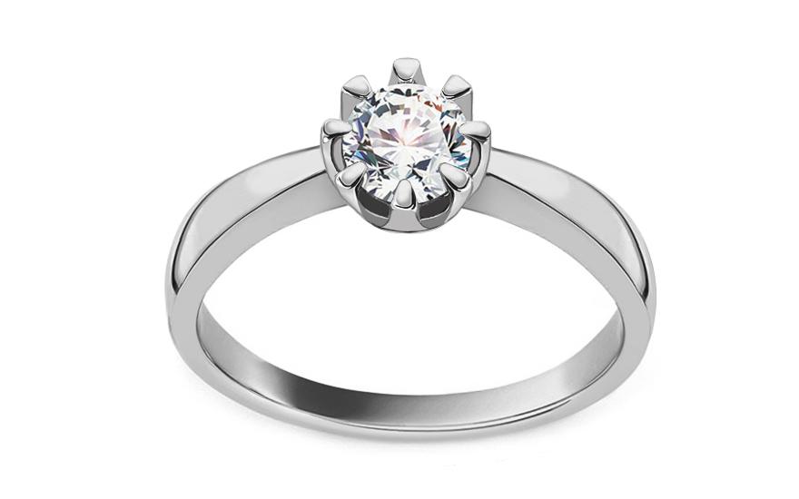 Zásnubní prsten z bílého zlata s diamantem 0,430 ct Iraina KU736A
