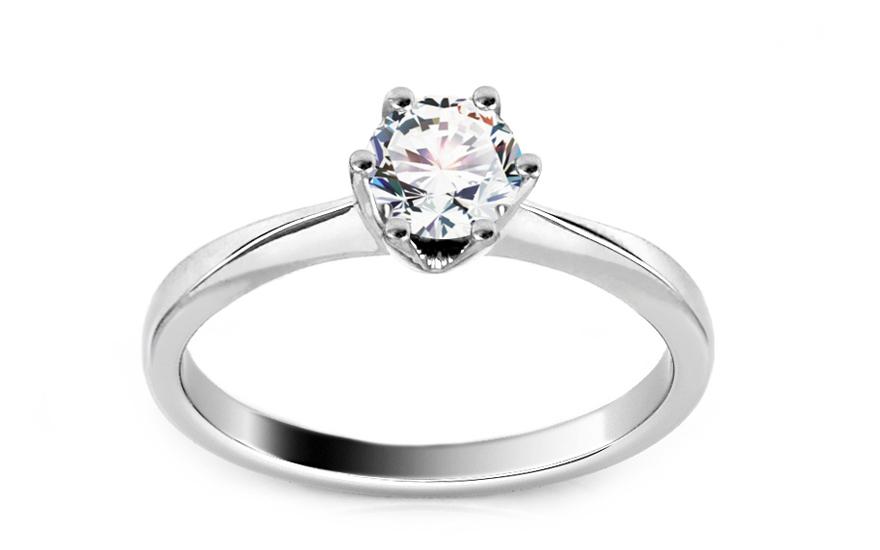 Zásnubní prsten z bílého zlata s diamantem 0.560 ct Arella KU399