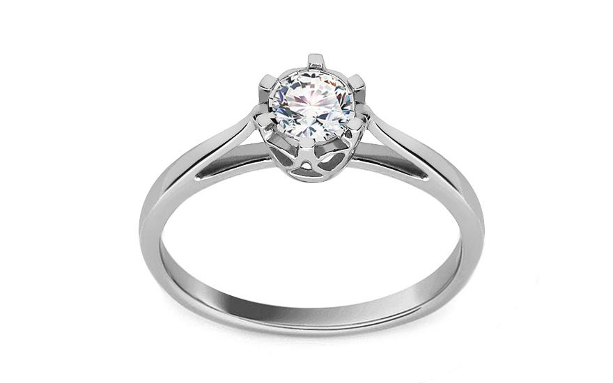 Zásnubní prsten z bílého zlata s diamantem Allene KU530A