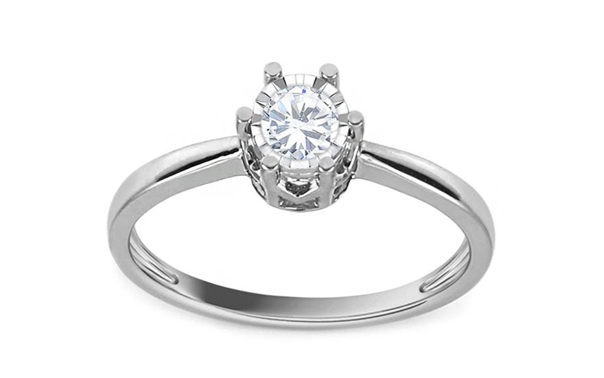 Zásnubní prsten z bílého zlata s diamantem Bianca KU540A