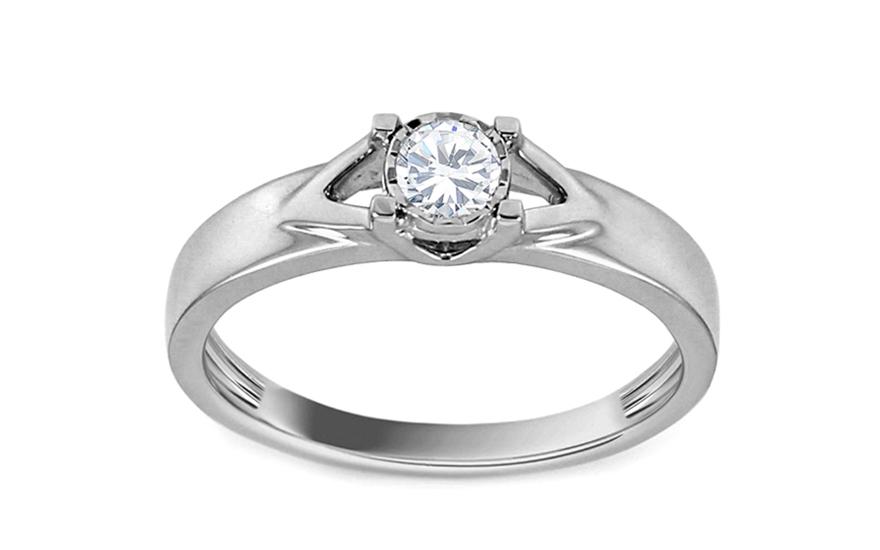 Zásnubní prsten z bílého zlata s diamantem Carina KU541A