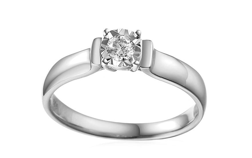 Zásnubní prsten z bílého zlata s diamantem Louise 2 IZBR245AL