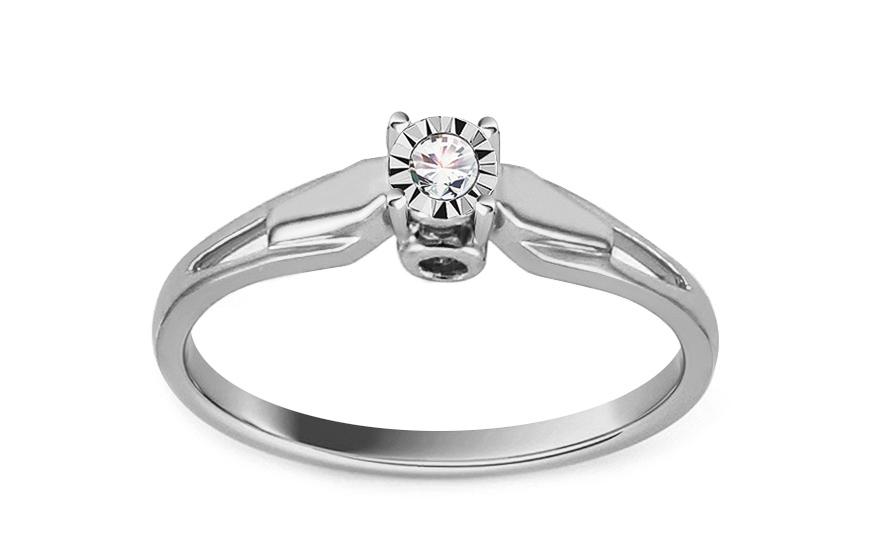 Zásnubní prsten z bílého zlata s diamantem Vivyan KU535A