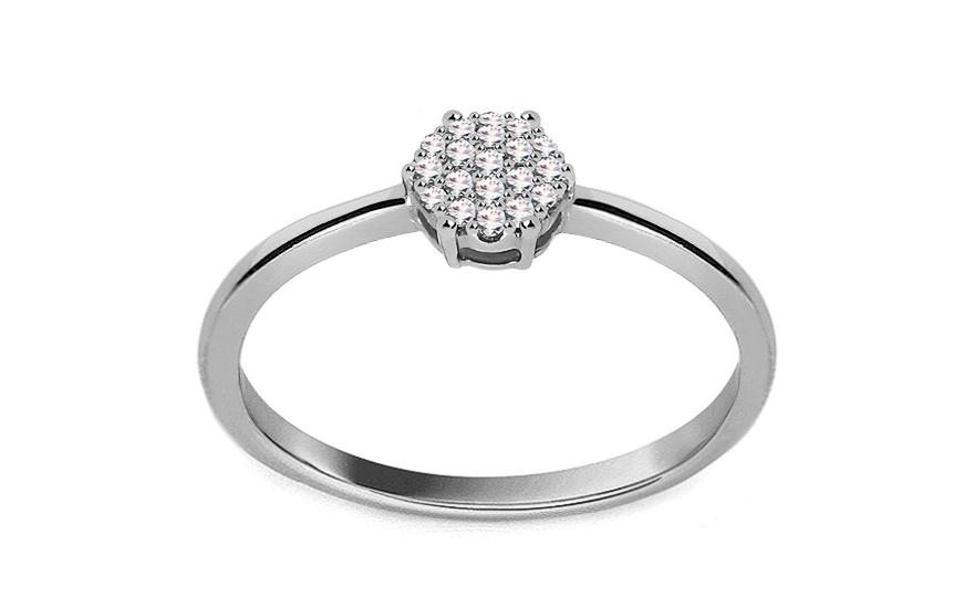 Zásnubní prsten z bílého zlata s diamanty 0,050 ct Aistin VKBR023A