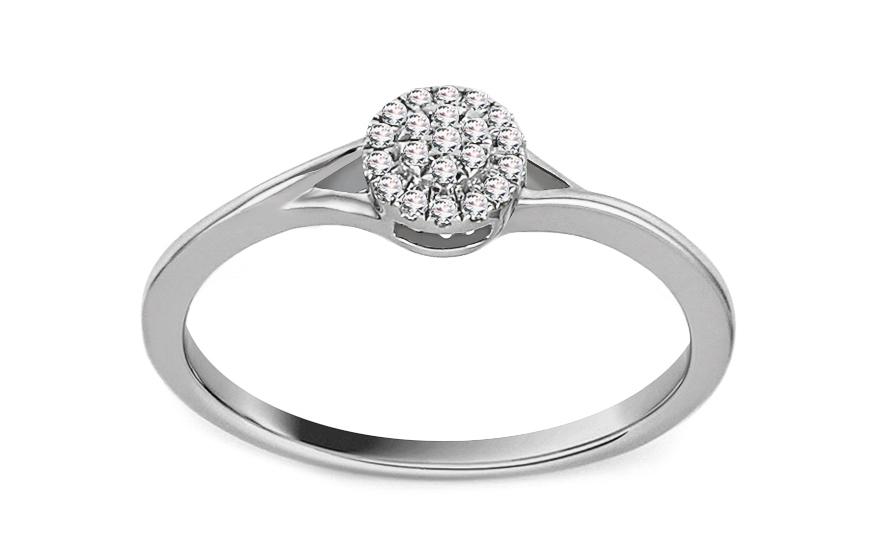 Zásnubní prsten z bílého zlata s diamanty 0,060 ct Luz KU688A
