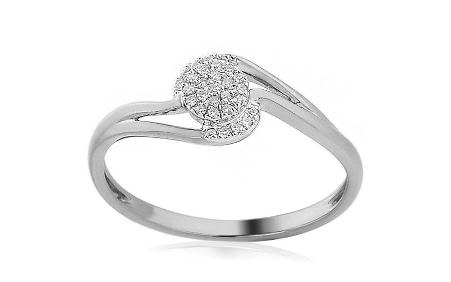 Zásnubní prsten z bílého zlata s diamanty 0,070 ct Edyth IZBR391A
