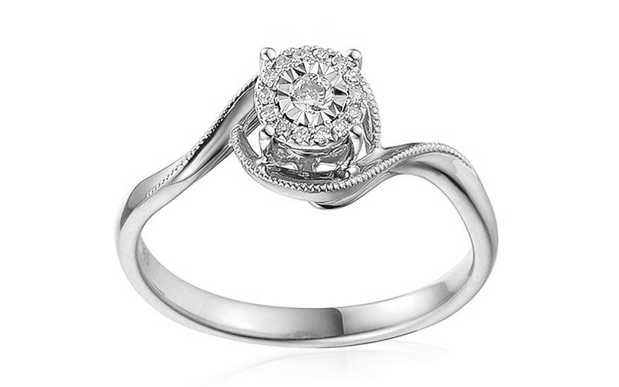Zásnubní prsten z bílého zlata s diamanty 0,090 ct Shenna IZBR388A
