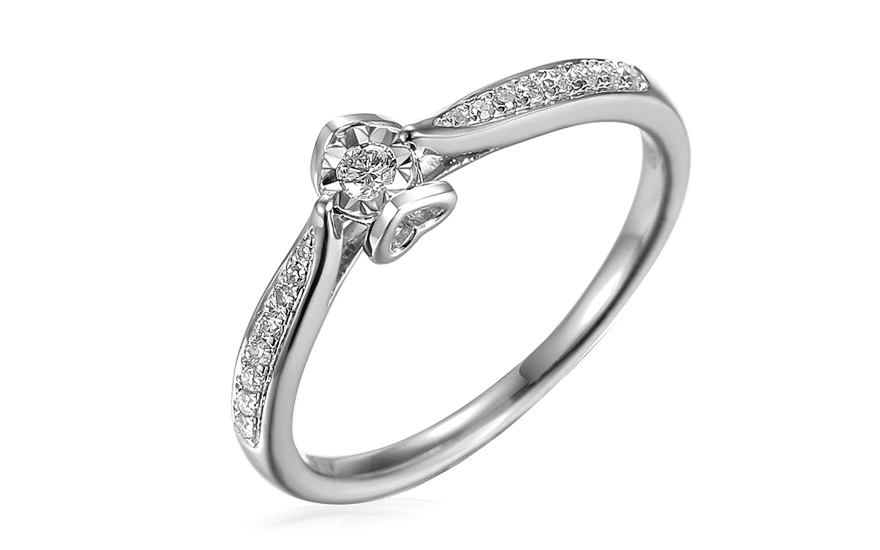 Zásnubní prsten z bílého zlata s diamanty 0,130 ct Evette IZBR516AM
