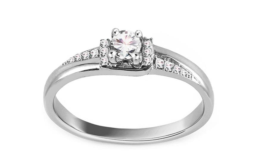 Zásnubní prsten z bílého zlata s diamanty 0,130 ct Stasia VKBR008A