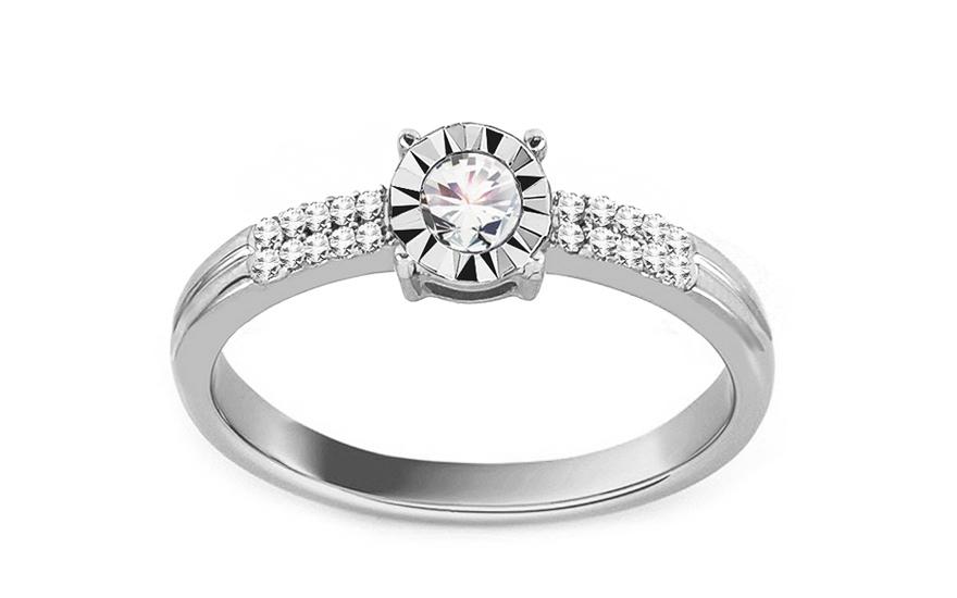 Zásnubní prsten z bílého zlata s diamanty 0,140 ct Cammie VKBR006A