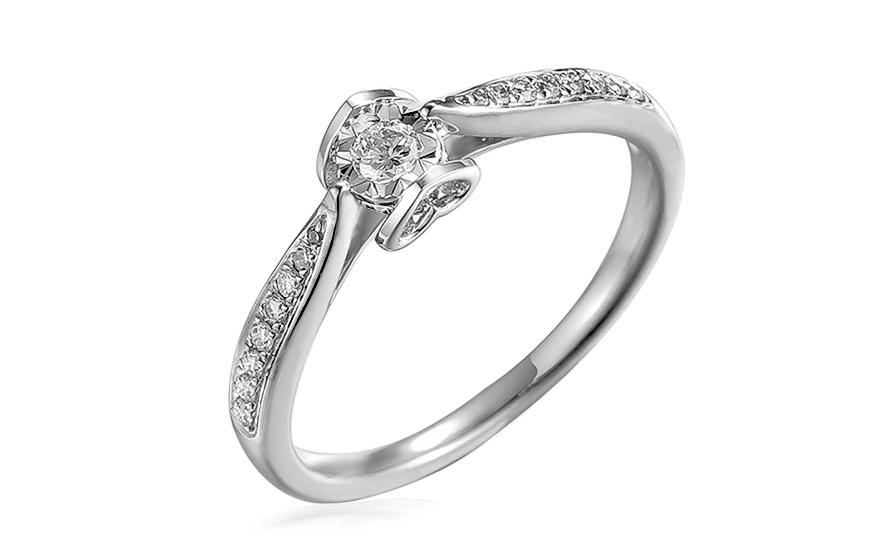 Zásnubní prsten z bílého zlata s diamanty 0,200 ct Evette 3 IZBR516AL