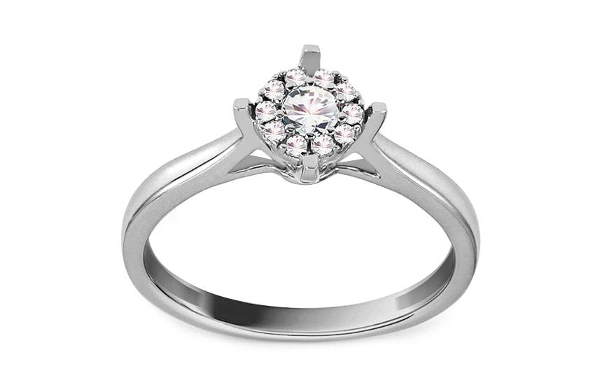 Zásnubní prsten z bílého zlata s diamanty 0,200 ct Matilda KU743A
