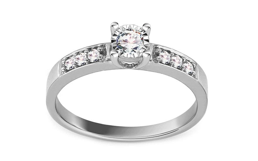 Zásnubní prsten z bílého zlata s diamanty 0,220 ct Shalon KU710A