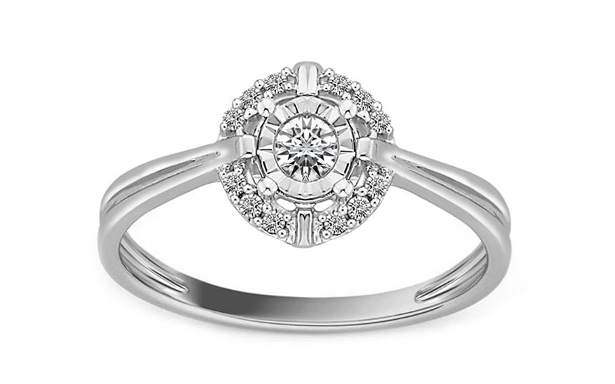 Zásnubní prsten z bílého zlata s diamanty Destinee KU543A