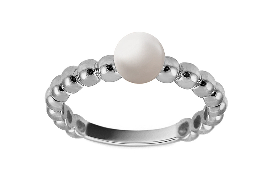 Zásnubní prsten z bílého zlata s perlou Pelipa IZ13263A