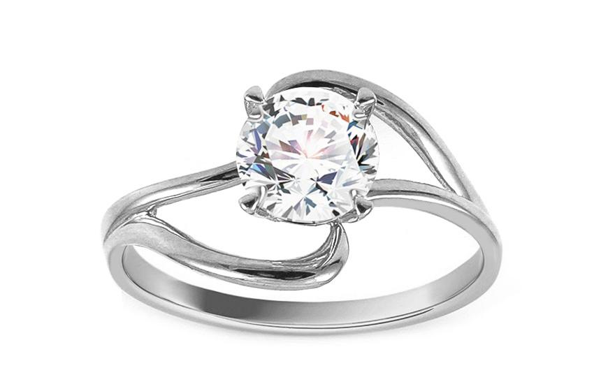 Zásnubní prsten z bílého zlata se zirkonem Anerae IZ13004A