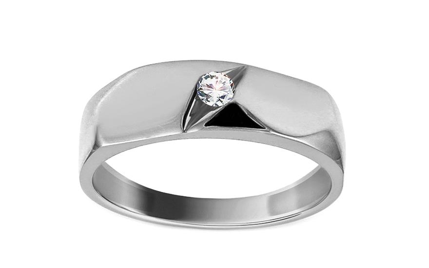 Zásnubní prsten z bílého zlata se zirkonem Aurorette IZ13322A