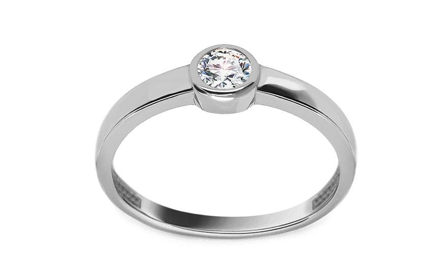 Zásnubní prsten z bílého zlata se zirkonem Aveline IZ13323A