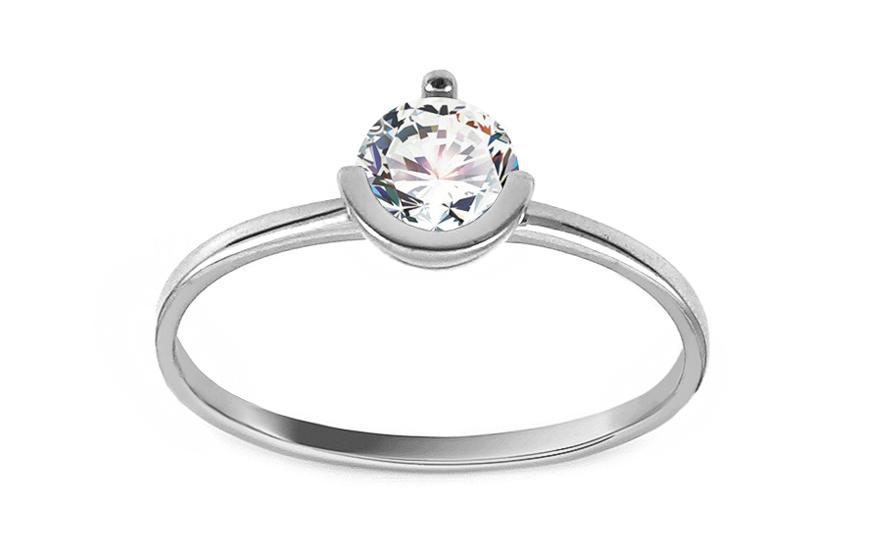 Zásnubní prsten z bílého zlata se zirkonem Bardott IZ13007A