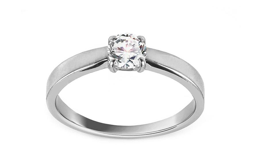 Zásnubní prsten z bílého zlata se zirkonem Cybele IZ13264A