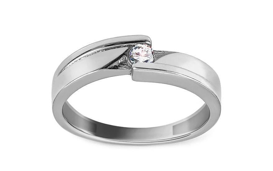Zásnubní prsten z bílého zlata se zirkonem Fantina IZ13395A