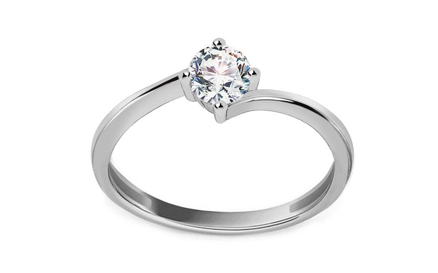 Zásnubní prsten z bílého zlata se zirkonem Pelgia IZ13309A
