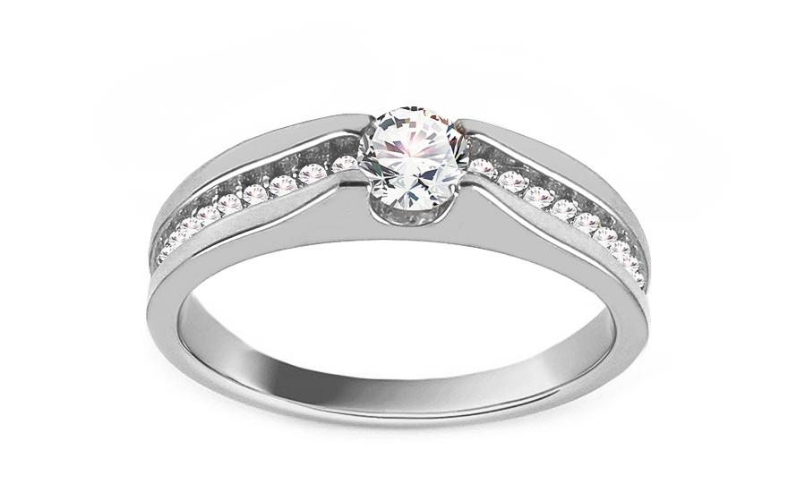 Zásnubní prsten z bílého zlata se zirkony Abelina IZ13283A