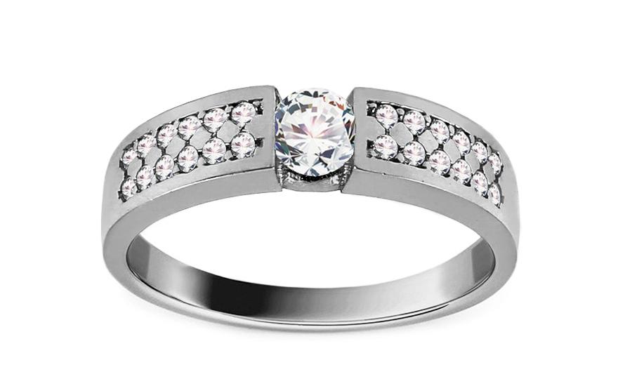 Zásnubní prsten z bílého zlata se zirkony Bernia IZ13030A