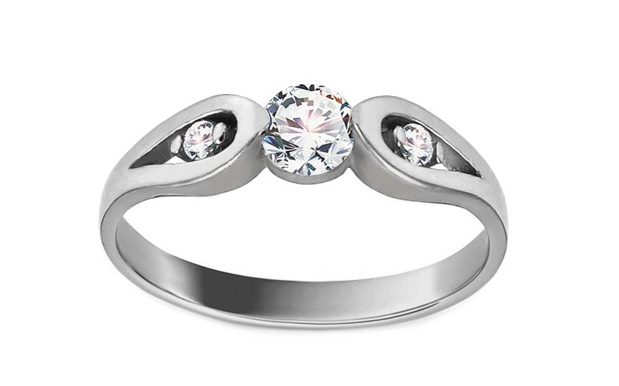 Zásnubní prsten z bílého zlata se zirkony Carly IZ13646A