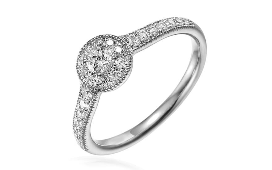 Zásnubní prsten z bílého zlata se zirkony Luvenia IZZR013A
