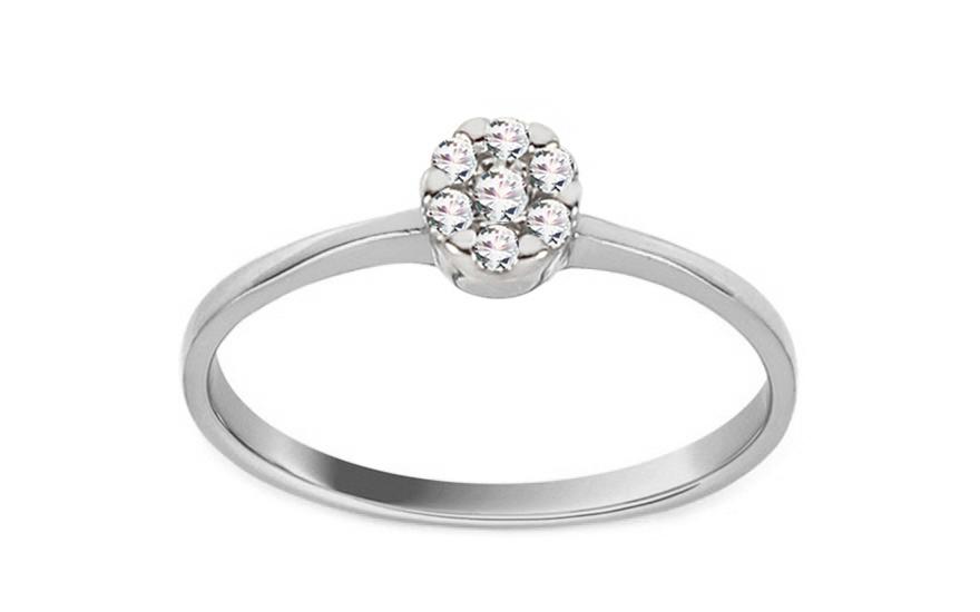 Zásnubní prsten z bílého zlata se zirkony Princess 17 CSRI2065A