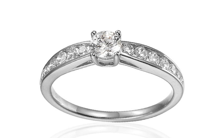 Zásnubní prsten z bílého zlata se zirkony Theoni IZZR007A